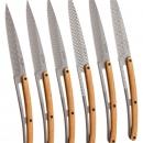 6 Deejo-Steakmesser, Titan, Olivenholz, Geometrie