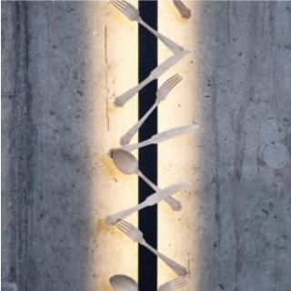 Cutlery: 30 magnetisch haftende Besteckteile in natürlicher Holzoptik
